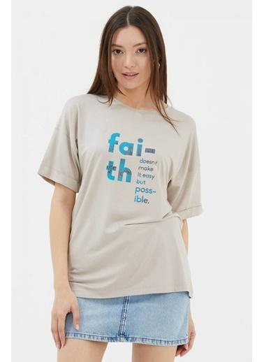 Sementa Yarasa Kol Baskılı Geniş Kalıp T-Shirt - Vizon Vizon